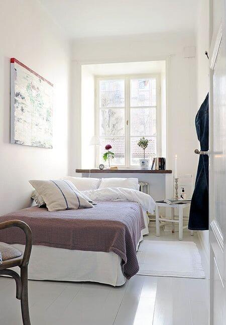 Trang trí phòng ngủ nhỏ với tông trắng tinh tế, nhẹ nhàng