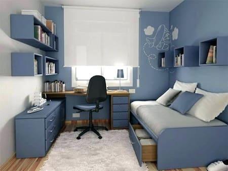 Phòng ngủ xanh dương tạo cảm giác bình yên, thanh tĩnh sau một ngày làm việc mệt mỏi