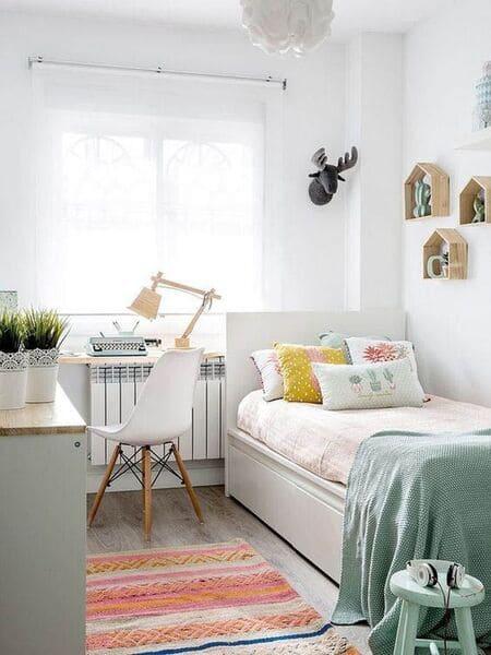 Trang trí phòng ngủ nhỏ dễ thương thích hợp với các bé gái