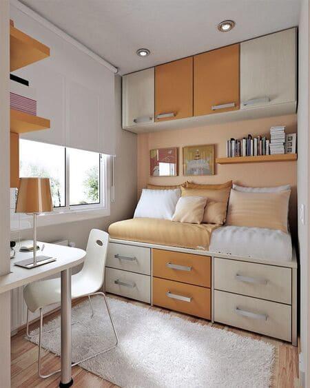 Với bố cục sát tường giúp tiết kiệm diện tích phòng ngủ nhỏ