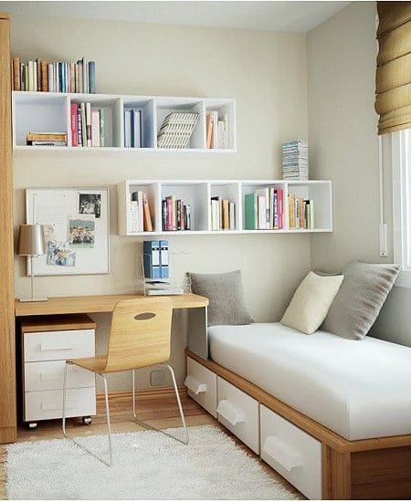 Decor phòng ngủ nhỏ với những chiếc kệ treo tường xinh xắn