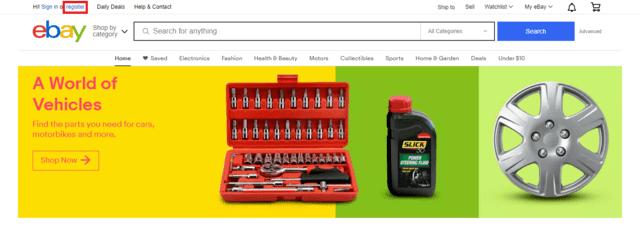 Chọn Register bên góc trái Ebay để tạo tài khoản