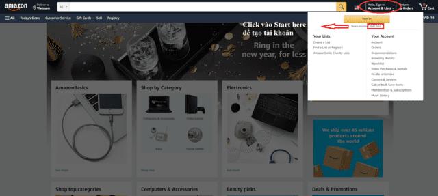 Đăng kí tài khoản trên trang thương mại điện tử Amazon