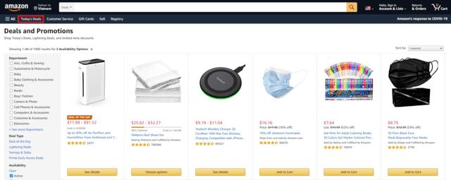 Vào mục Today's Deal của Amazon để mua những sản phẩm sale