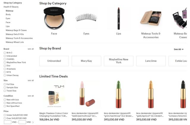 Bất kì món mỹ phẩm nào cũng được tìm thấy trên Ebay