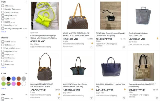 Túi xách trên Ebay luôn đa dạng mẫu mã, bắt kịp xu hướng